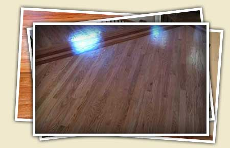 collage of red oak flooring