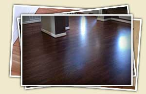 collage of stained oak flooring