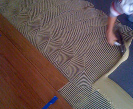photo of Green Step Flooring glue down hardwood floor installation